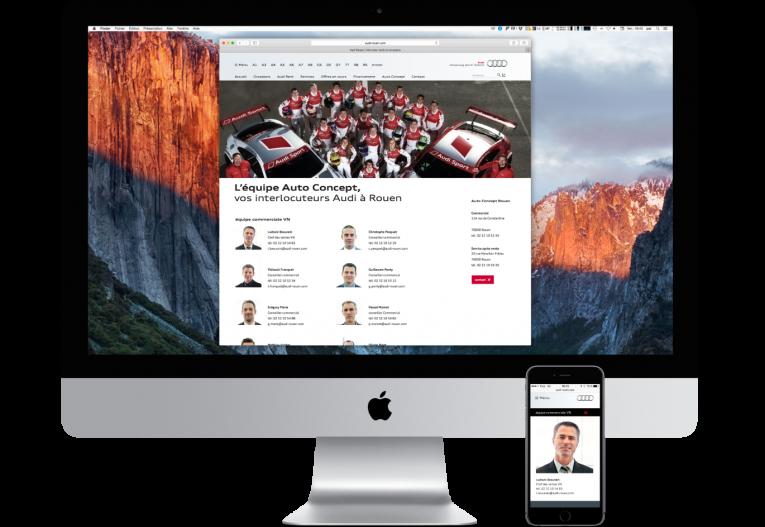 agence web Rouen pôles - site internet partenaire Audi - page équipe