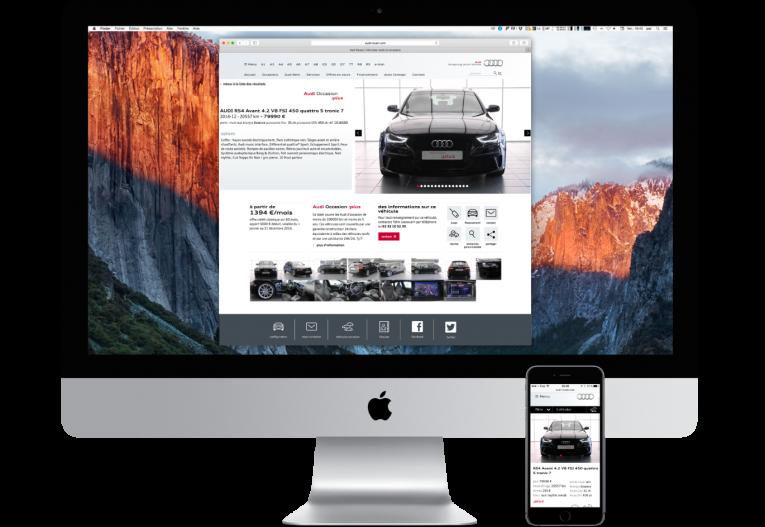 agence web Rouen pôles - site partenaire Audi - page occasion