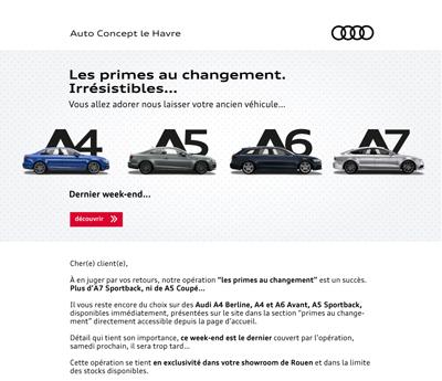 emailing responsive Audi