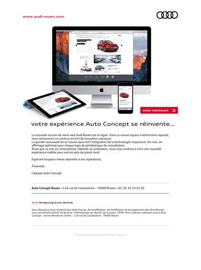 emailing nouveau web Audi