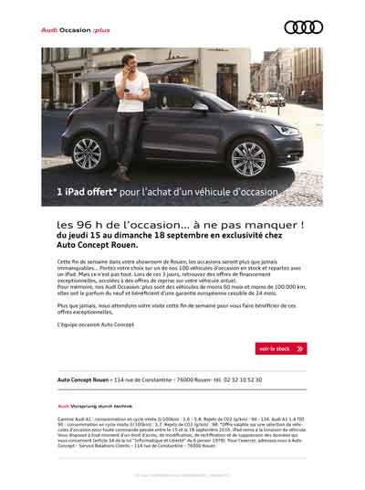 emailing occasion Audi