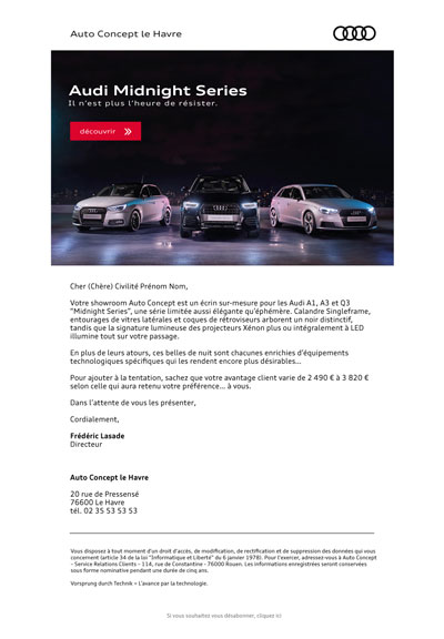 emailing Audi Midnight Series
